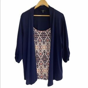 Naïf Layered Blouse with Blue Open Cardigan 2X